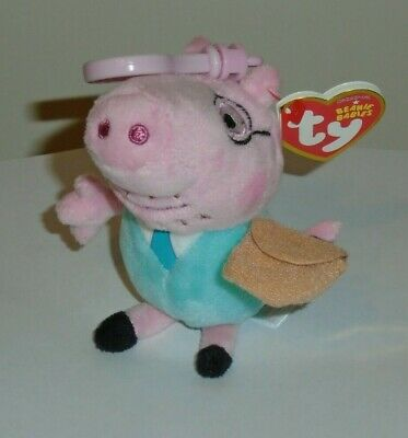 Ty Beanie Baby Key Clip ~ DADDY PIG (Peppa Pig) (UK Exclusive) MWMT
