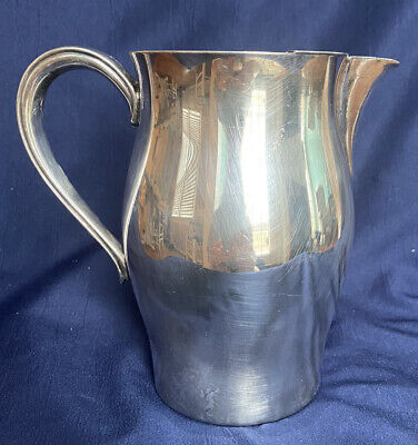 Vintage Metal Pitcher  Handled Faceted Brass Patina Trophy Style Pitcher