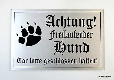 Achtung freilaufender Hund,Gravurschild,12 x 8 cm,Hundeschild,Warnschild,Neu