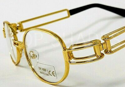 Men Clear Lens Eye Glasses Sunglasses Gold Frame Hip-Hop Buffs Migos Metal (Clear Frame Sunglasses For Men)