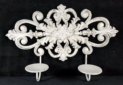 Vintage Pair Contemporary Hvy White Cast Iron Candle Sconces For Garden Or (Hvy Cast)