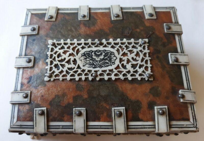 Ango Indian box Vizagapatam fret work and faux tortoise shell trinket casket box