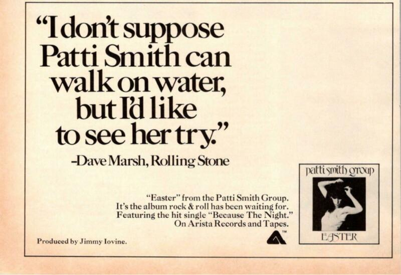 1978 VINTAGE 5X8 ALBUM PROMO PRINT Ad FOR PATTI SMITH GROUP EASTER WALK ON WATER