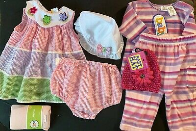 Baby Girls Clothes Lot 6-9m Little Bitty Leggings Hats Bloomers Dress Fleece Set