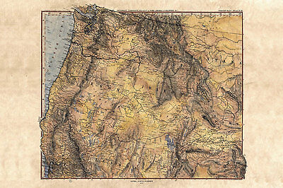 (Historic Vintage hand painted reproduction map 42x50