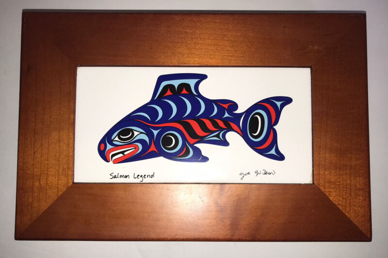 Joe Wilson Salmon Legend Fish Tile Wooden Storage Box Northwest Native Artist