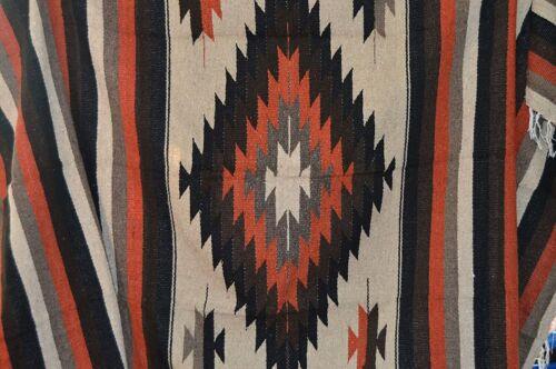 Mexican Blanket Tribal Diamond Design finely knit artisan Handwoven Throw Rug