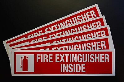 5 Pack Fire Extinguisher Inside Sticker Vinyl Decal 8 X 2 Sign X5ps44