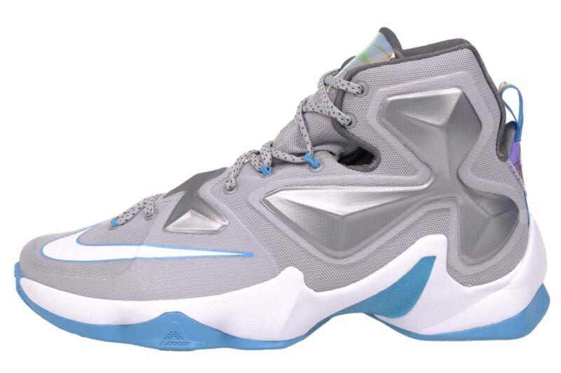 Nike Men's Lebron XIII, WOLF GREY/WHITE-BLUE LAGOON-DARK GREY, 13 M US 807219-014