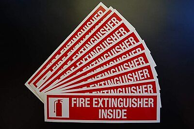 10 Pack Fire Extinguisher Inside Sticker Vinyl Decal 8 X 2 Sign X10ps44