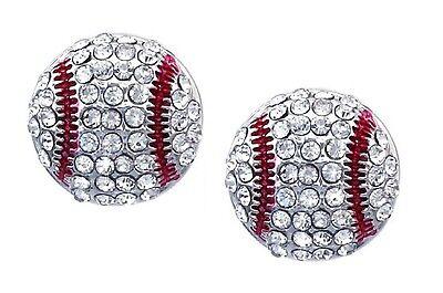 Baseball Earrings Stud Crystal Rhinestone Silver Bling White Mom Post Earring