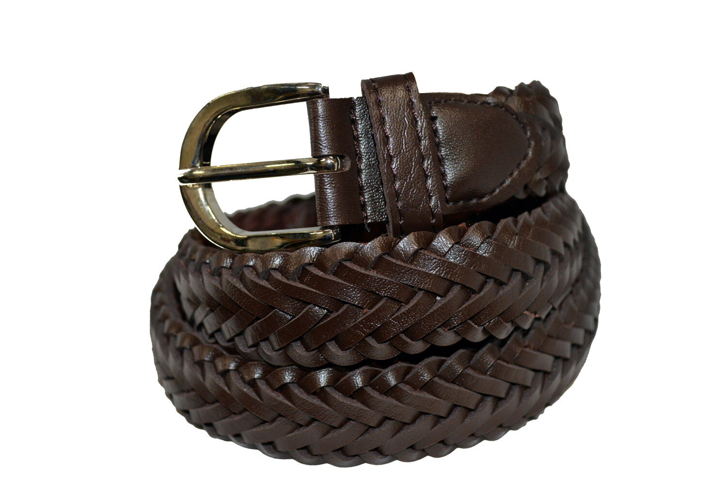 BELT BRAIDED BROWN MEN'S GENUINE LEATHER CASUAL BELT NEW