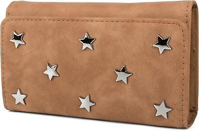 Weiche Damen Geldbörse (weiche Geldbörse mit Stern Nieten Applikationen, Druckknopf, Portemonnaie, Damen)