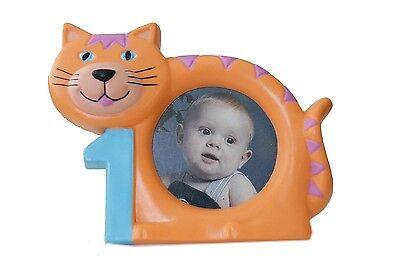 Cute! Orange Tabby Cat 1st Birthday Picture Frame (1st Birthday Picture Frame)