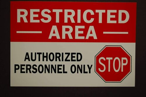 """Restricted Area - Authorized Personnel Only Sticker Vinyl 6"""" X 4"""" (PS4)"""