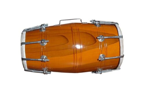 Handmade Wood Dholak Indian Folk Musical Instrument Drum