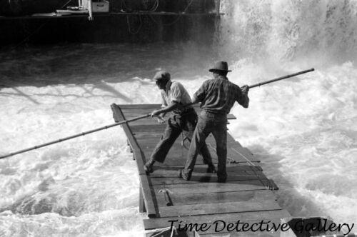 Indians Fishing for Salmon, Celilo Falls, Oregon (2) -1941- Historic Photo Print