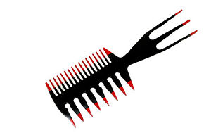 DIMPLES 3 IN 1 HAIR STYLING WIDE TOOTH DETANGLING COMB Red Black (H643)