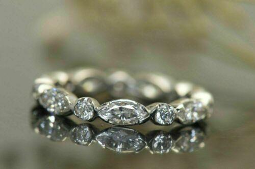 Full Eternity Engagement Stackable Fine Band 14k White Gold Over 1.3 Ct Diamond