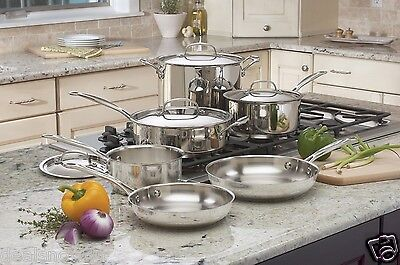 Stainless Steel 10 Piece Cookware Set Pan Pot Skillet Mirror Finish with Lids