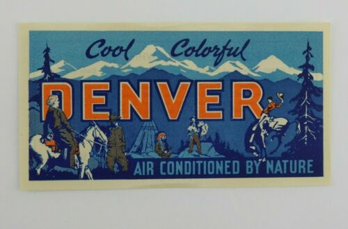 Vintage Denver Luggage Travel Sticker Gum Back