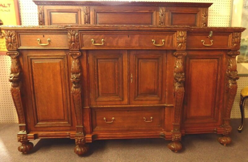 "Antique Oak Sideboard Attributed to RJ Horner. High Relief Carving.40""Hx72"".1890"
