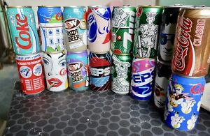 Collectable Coke, Pepsi, 7up and A&W can collection