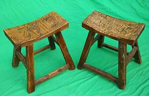 lovely rustic English Elm wood pair of stools,CAN DELIVER. Atwell Cockburn Area Preview