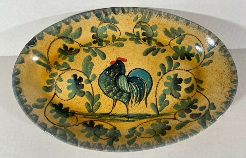 Williams Sonoma Oval Rooster Plate Made In Italy Handpainted Stoneware 11 X 7.5