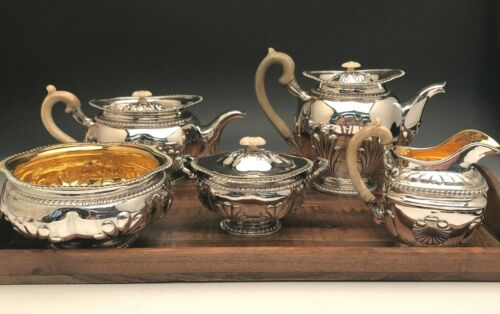 Beautiful antique Russian Silver 5 piece Coffee and Tea Set , 84%  Silver