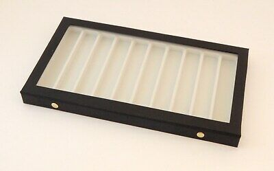 Clear View Acrylic Lid 10 Slot Pocket Knife Display Storage Case White Liner