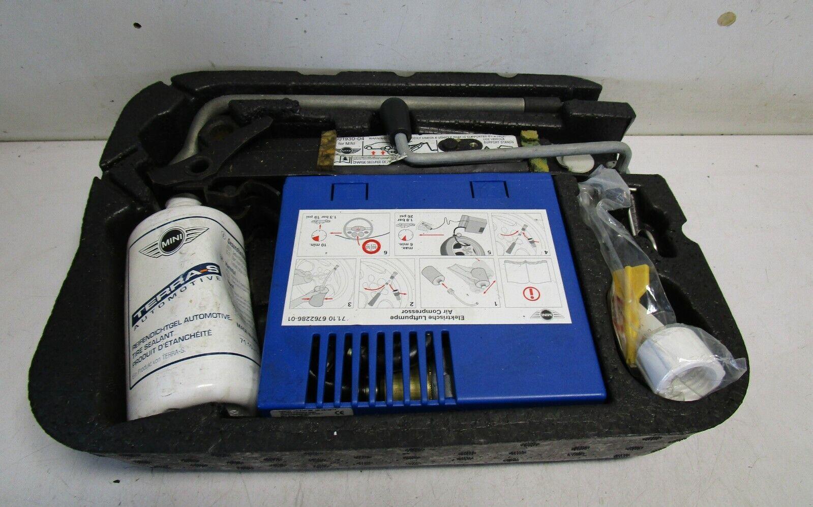 Mini One Pannenset elektrische Luftpumpe mit Wagenheber Schlüssel und Schale