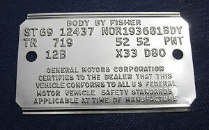67 68 69 70 s Chevelle Pontiac Camaro Cowl  Data Trim Tag