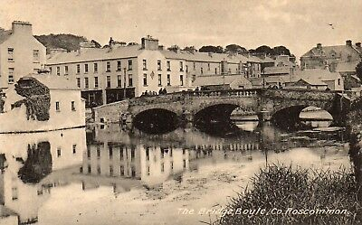 THE BRIDGE BOYLE CO ROSCOMMON IRELAND LAWRENCE POSTCARD for McDONAGH SCHOOL STRs