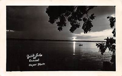 E56/ Spirit Lake Iowa Real Photo RPPC Postcard 1948 Sunset Boat