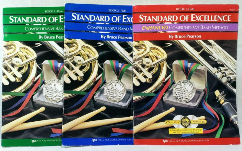 STANDARD OF EXCELLENCE Flute Books Lot 1, 2 & 3 CD