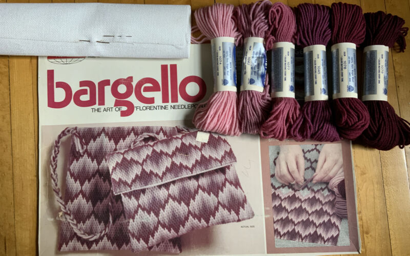 Bargello 1974 Skil-Craft Needlepoint Tote Bag Clutch Included 6 Yarn/Canvas Only