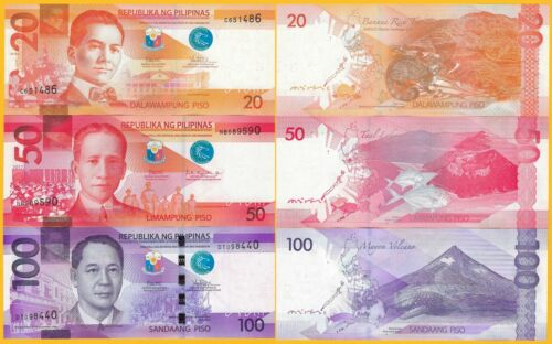 Philippines Set 20, 50, 100 Piso 2017 UNC Banknotes