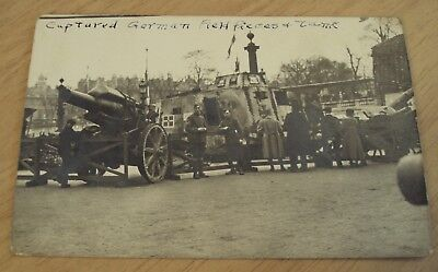 "1917-19 RPPC Postcard~""CAPTURED GERMAN Field ARTILLERY Pieces/Tank""~France WWI~"