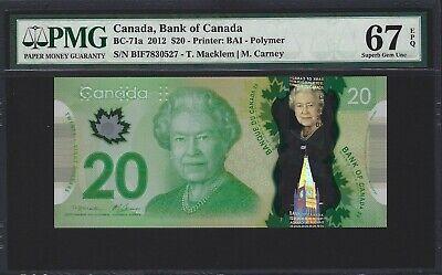 2012 CANADA 20 Dollars, PMG 67 EPQ SUPERB GEM UNC, QEII, BC-71a Macklem/Carney