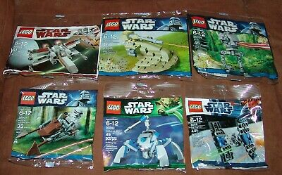 "Lego ""Star Wars"" Lot of Six Different Polybags, X-Wing, Speeder, Tie Fighter +++"