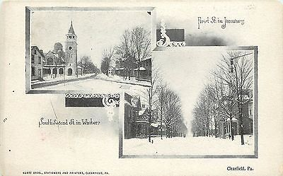 1901 1907 Postcard  2 Views First Street South Second St In Winter Clearfield Pa