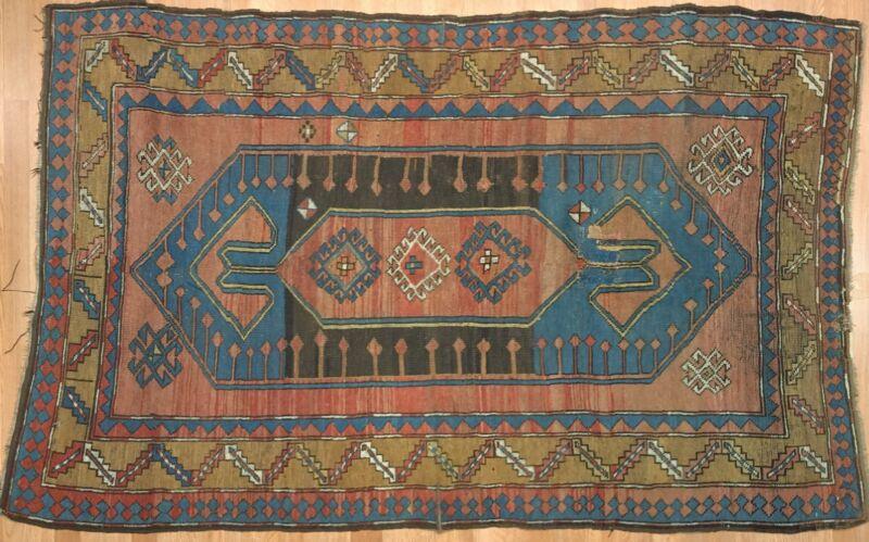 Classic Caucasian - 1920s Antique Kazak Rug - Tribal Carpet - 4.6 X 7 Ft.