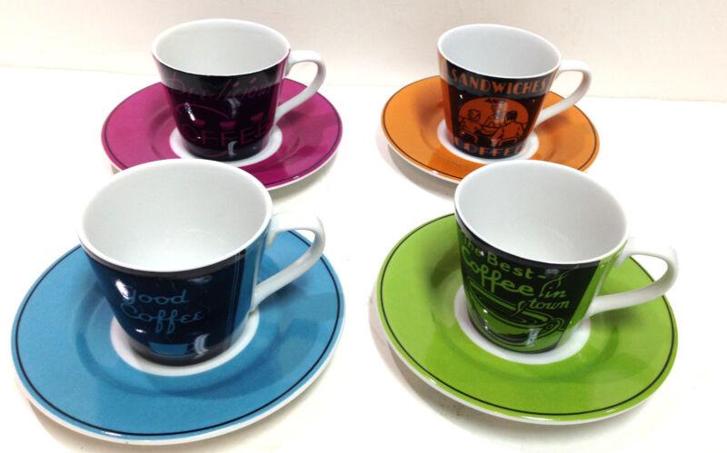 222 FIFTH Vintage Ad Fine Porcelain 4 Espresso Demitasse Cups & Saucers