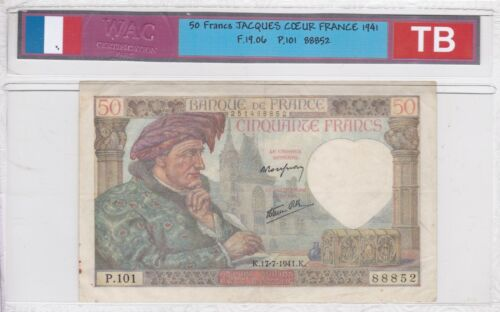 Ticket From 50 Francs Jacques Heart 1941 Very Good