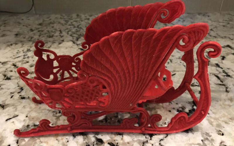 "Vintage Red Flocked Plastic Christmas Sleigh 8"" x 3"""