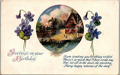 Birthday Greeting Houses Near Pond Vintage Postcard EE1261