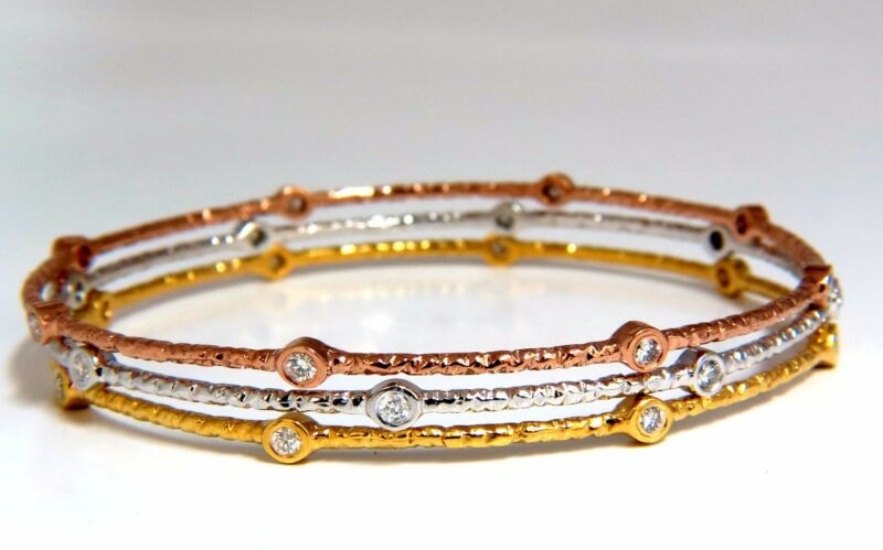 .96ct Round Diamonds Stacking Bangle Bracelets 14kt Hammer Rustic Finish+