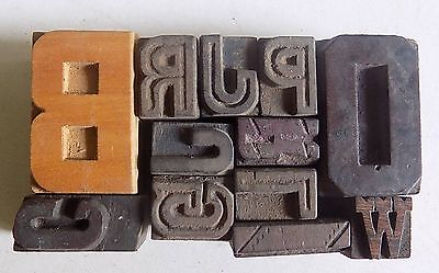 Letterpress Letter Wood Type Printers Block Lot Of 12 Typography Bc-1094