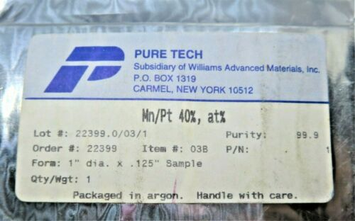 PureTech (Sub of WAM) Mn/Pt 40%, at% MANGANESE/PLATINUM Sputtering Target